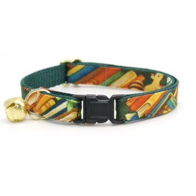 "Cat Collar - ""Book Lover"" - Library Green Cat Collar / Breakaway Buckle or Non-Breakaway / Cat, Kitten + Small Dog Sizes"