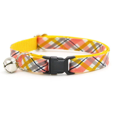 "Cat Collar - ""Daydreamer"" - Coral + Yellow Plaid Cat Collar / Breakaway Buckle or Non-Breakaway / Cat, Kitten + Small Dog Sizes"