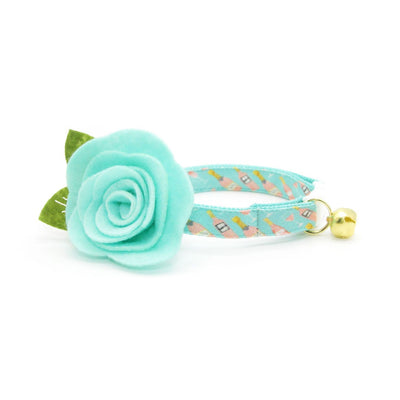 "Cat Collar - ""Rosé All Day"" - Pink Rose Wine on Mint Cat Collar / Breakaway Buckle or Non-Breakaway / Cat, Kitten + Small Dog Sizes"