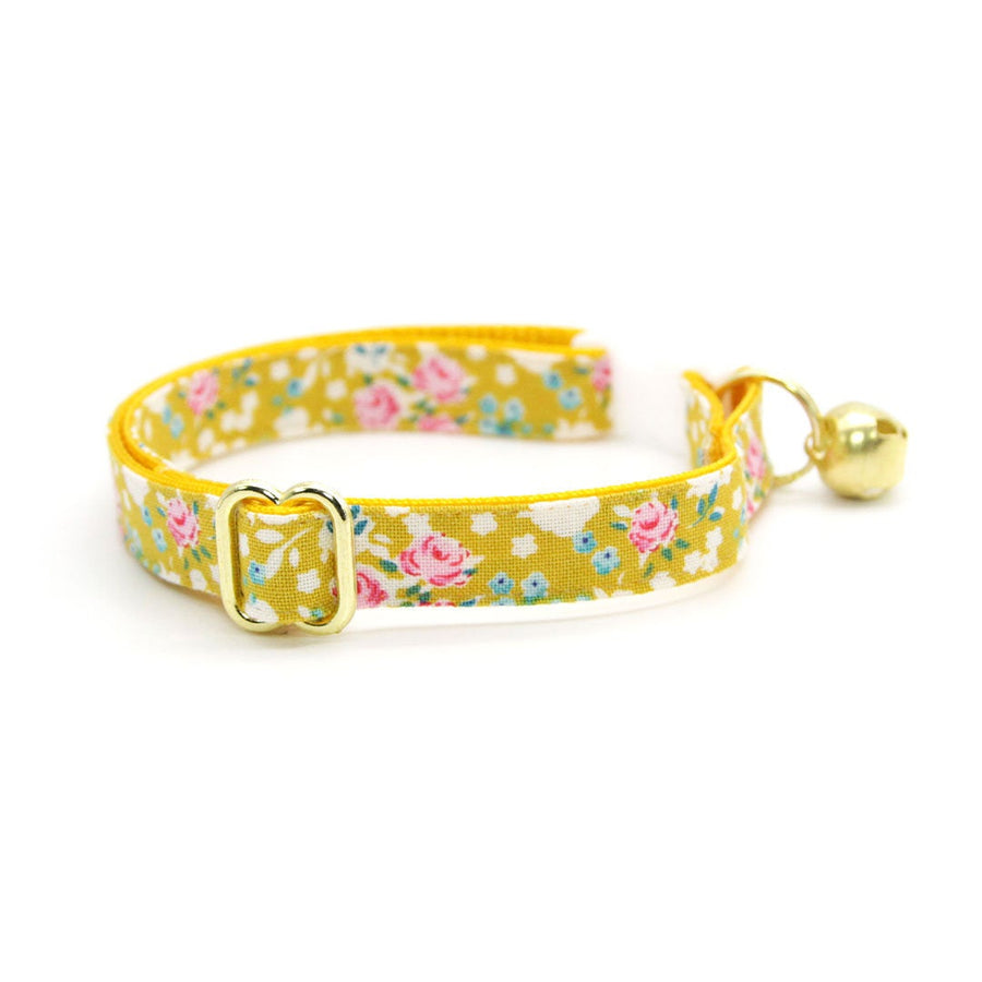 "Cat Collar - ""Lorelei"" - Mustard Yellow Floral Cat Collar / Breakaway Buckle or Non-Breakaway / Cat, Kitten + Small Dog Sizes"
