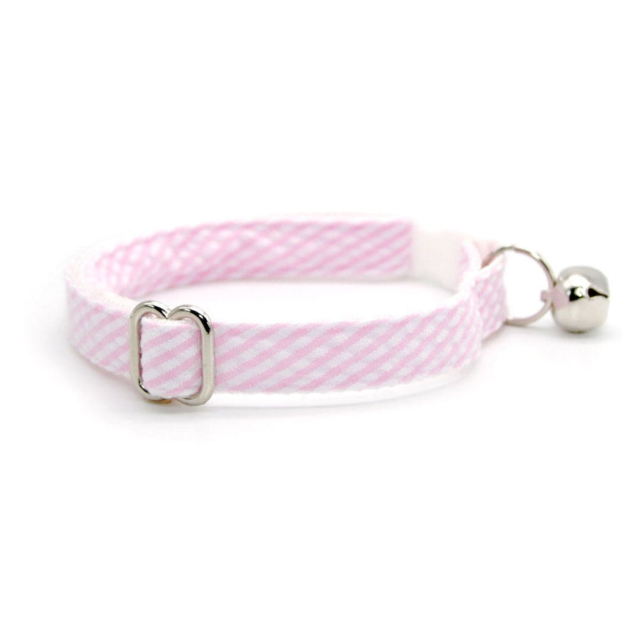 "Cat Collar - ""Posey"" - Seersucker Pink Cat Collar / Breakaway Buckle or Non-Breakaway / Cat, Kitten + Small Dog Sizes"