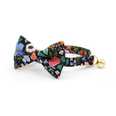 "Rifle Paper Co® Cat Collar - ""Muse"" - Black Floral Cat Collar / Breakaway Buckle or Non-Breakaway / Cat, Kitten + Small Dog Sizes"