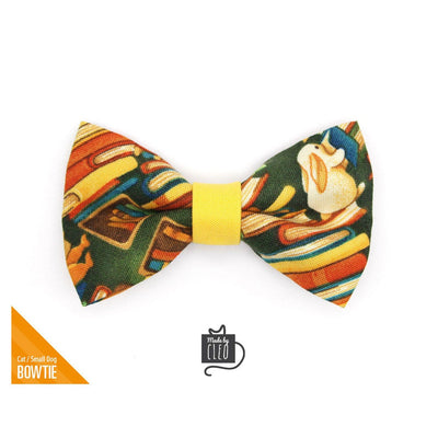 "Pet Bow Tie - ""Book Lover"" - Library Books on Green Bow Tie for Cat / Book Decor, Bookworm / For Cats + Small Dogs (One Size)"