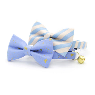 "Rifle Paper Co® Pet Bow Tie - ""Dandy"" - Peach + Periwinkle Blue Stripe Bow Tie for Cat / For Cats + Small Dogs (One Size)"