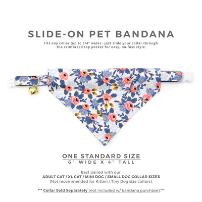 "Rifle Paper Co® Cat Bandana - ""Amelie"" - Floral Bandana for Cat + Small Dog / Slide-on Bandana / Over-the-Collar"