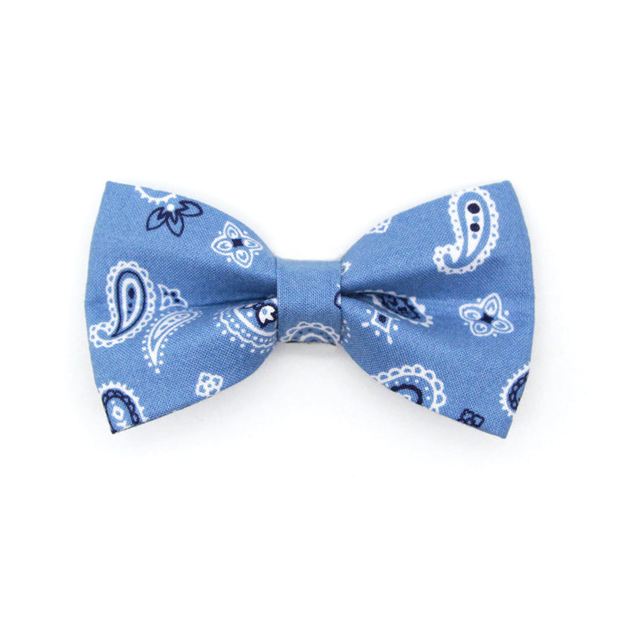 "Bow Tie Cat Collar Set - ""Lone Ranger Blue"" - Paisley Handkerchief Cat Collar w/ Matching Bowtie / Cat, Kitten, Small Dog Sizes"