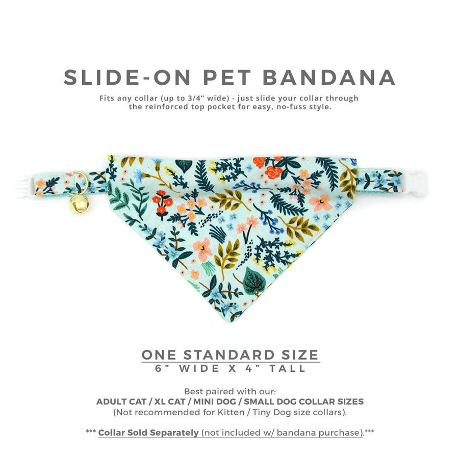"Rifle Paper Co® Cat Bandana - ""Sage"" - Mint Botanical Bandana for Cat Collar or Small Dog Collar / Slide-on Bandana / Over-the-Collar (One Size)"
