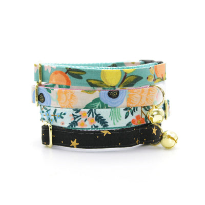 "Rifle Paper Co® Bow Tie Cat Collar Set - ""Sage"" - Mint Botanical Cat Collar w/ Matching Bowtie / Cat, Kitten, Small Dog Sizes"