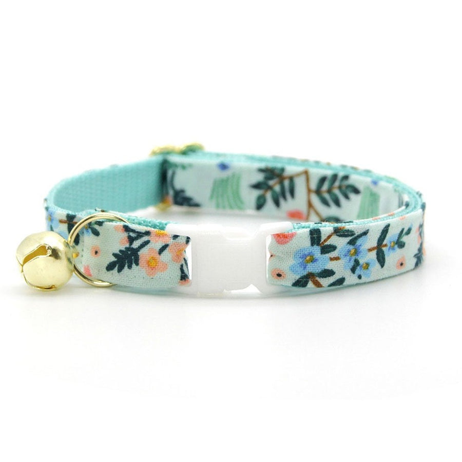 "Rifle Paper Co® Cat Collar - ""Sage"" - Mint Botanical Cat Collar / Breakaway Buckle or Non-Breakaway / Cat, Kitten + Small Dog Sizes"