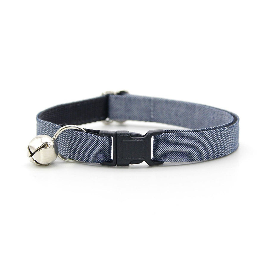 "Bow Tie Cat Collar Set - ""Urban"" - Gray Blue Denim Chambray Cat Collar w/ Matching Bowtie / Cat, Kitten, Small Dog Sizes"