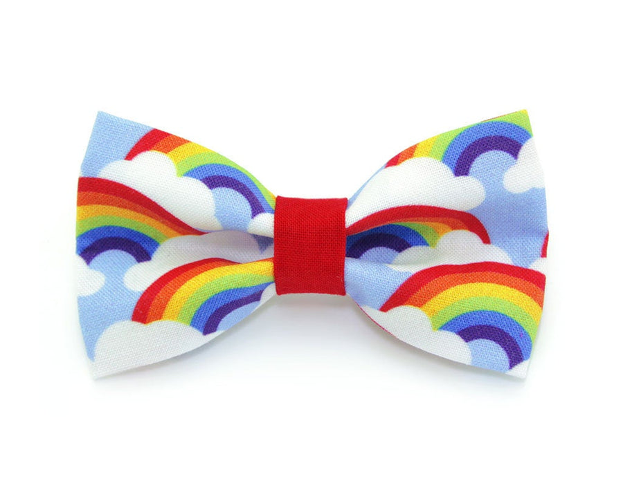 "Bow Tie Cat Collar Set - ""Retro Rainbow"" - Rainbow Pet Collar + Coordinating ""Rainbow Magic"" Bowtie / Cat, Kitten, Small Dog Sizes"