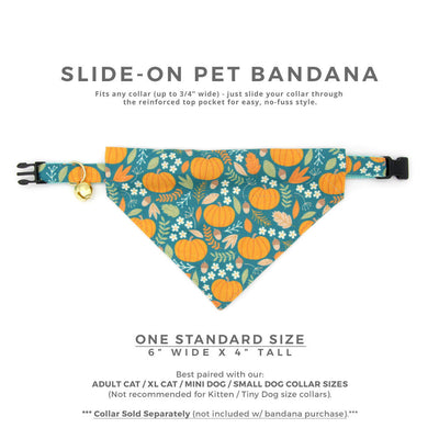 "Pet Bandana - ""Pumpkin Patch"" - Fall Harvest Teal Bandana for Cat Collar or Small Dog Collar / Slide-on Bandana / Over-the-Collar (One Size)"