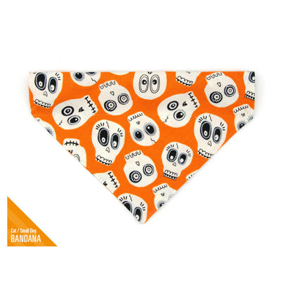 "Halloween Pet Bandana - ""Ghost Town"" - Glow-in-the-Dark Skull Bandana for Cat Collar or Small Dog Collar / Slide-on Bandana / Over-the-Collar (One Size)"