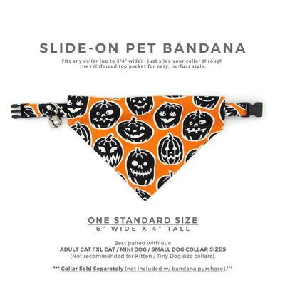 "Halloween Pet Bandana - ""Sleepy Hollow"" - Glow-in-the-Dark Pumpkin Bandana for Cat Collar or Small Dog Collar / Slide-on Bandana / Over-the-Collar (One Size)"