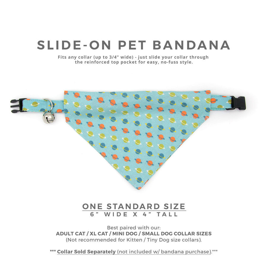 "Pet Bandana - ""Orbital"" - Space Bandana for Cat Collar or Small Dog Collar / Slide-on Bandana / Over-the-Collar (One Size)"