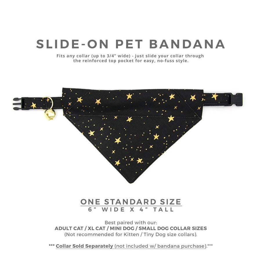 "Rifle Paper Co® Cat Bandana - ""Noir"" - Black & Gold Star Bandana for Cat Collar or Small Dog Collar / Slide-on Bandana / Over-the-Collar (One Size)"