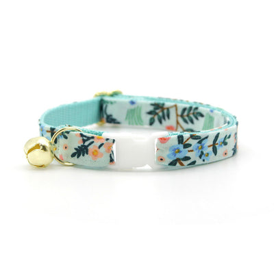 "Rifle Paper Co® Cat Collar + Flower Set - ""Sage"" - Mint Botanical Pet Collar w/ Baby Pink Felt Flower (Detachable)"
