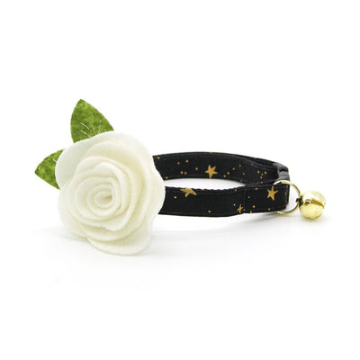 "Rifle Paper Co® Cat Collar + Flower Set - ""Noir"" - Black & Gold Star Pet Collar w/ Ivory Felt Flower (Detachable)"
