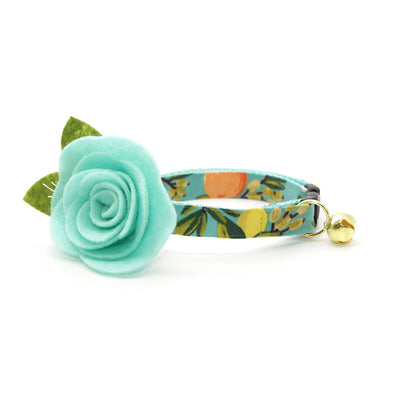 "Rifle Paper Co® Cat Collar + Flower Set - ""Clementine"" - Citrus Teal Pet Collar w/ Mint Felt Flower (Detachable)"
