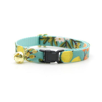 "Rifle Paper Co® Cat Collar - ""Clementine"" - Citrus Teal Cat Collar / Breakaway Buckle or Non-Breakaway / Cat, Kitten + Small Dog Sizes"