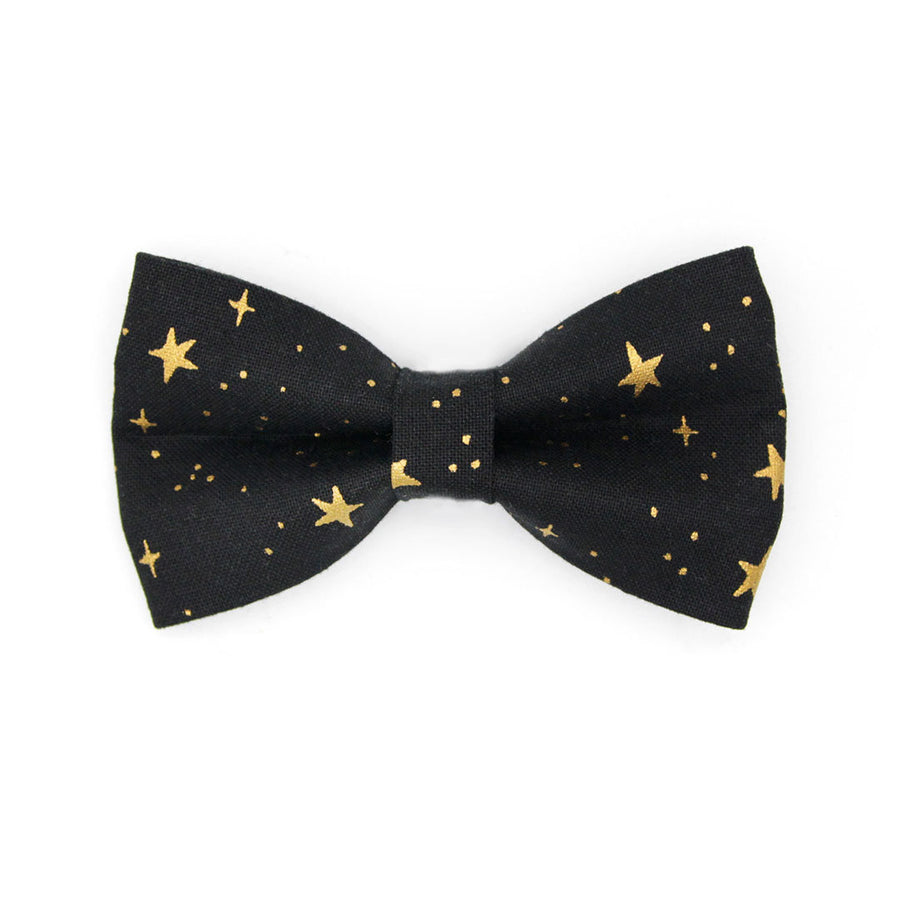 "Rifle Paper Co® Bow Tie Cat Collar Set - ""Noir"" - Black & Gold Star Cat Collar w/ Matching Bowtie / Cat, Kitten, Small Dog Sizes"