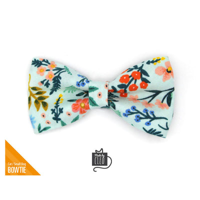 "Rifle Paper Co® Pet Bow Tie - ""Sage"" - Mint Botanical Bow Tie For Cats + Small Dogs (One Size)"