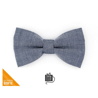 "Pet Bow Tie - ""Urban"" - Gray Blue Denim Chambray Bow Tie For Cats + Small Dogs (One Size)"
