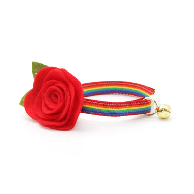 "Cat Collar - ""Retro Rainbow"" - Rainbow Cat Collar / Breakaway Buckle or Non-Breakaway / Cat, Kitten + Small Dog Sizes"