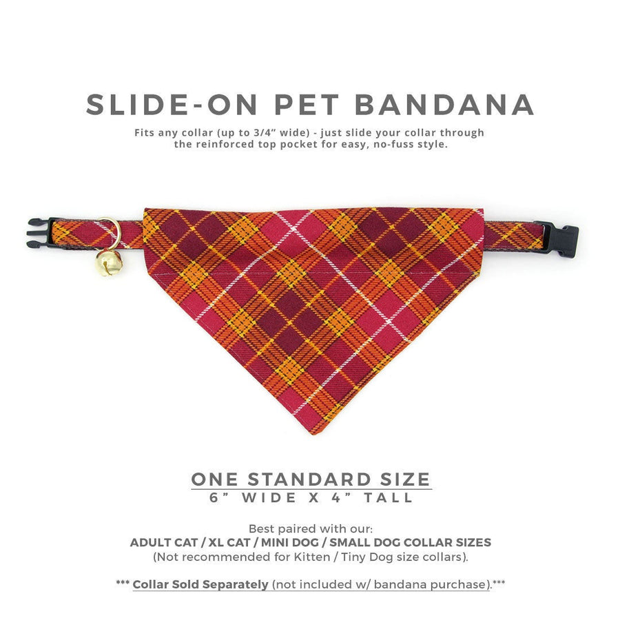 "Pet Bandana - ""Brandywine"" - Burgundy Plaid Bandana for Cat Collar or Small Dog Collar / Fall, Thanksgiving / Slide-on Bandana / Over-the-Collar (One Size)"