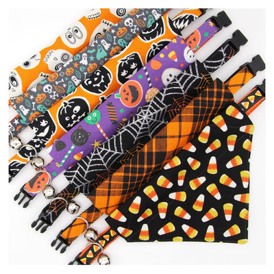 "Halloween Pet Bandana - ""Spiderwebs"" - Black & Silver Spiderweb Bandana for Cat Collar or Small Dog Collar / Slide-on Bandana / Over-the-Collar (One Size)"