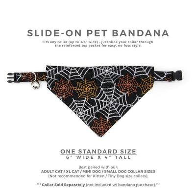 "BACKORDER 7/12 - Halloween Pet Bandana - ""Spiderwebs"" - Black & Silver Spiderweb Bandana for Cat Collar or Small Dog Collar / Slide-on Bandana / Over-the-Collar (One Size)"