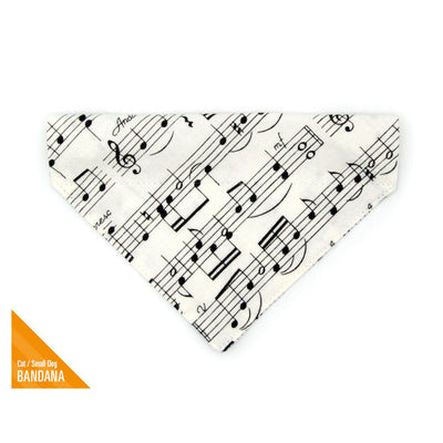 "Pet Bandana - ""Serenade"" - Sheet Music Bandana for Cat Collar or Small Dog Collar / Slide-on Bandana / Over-the-Collar (One Size)"