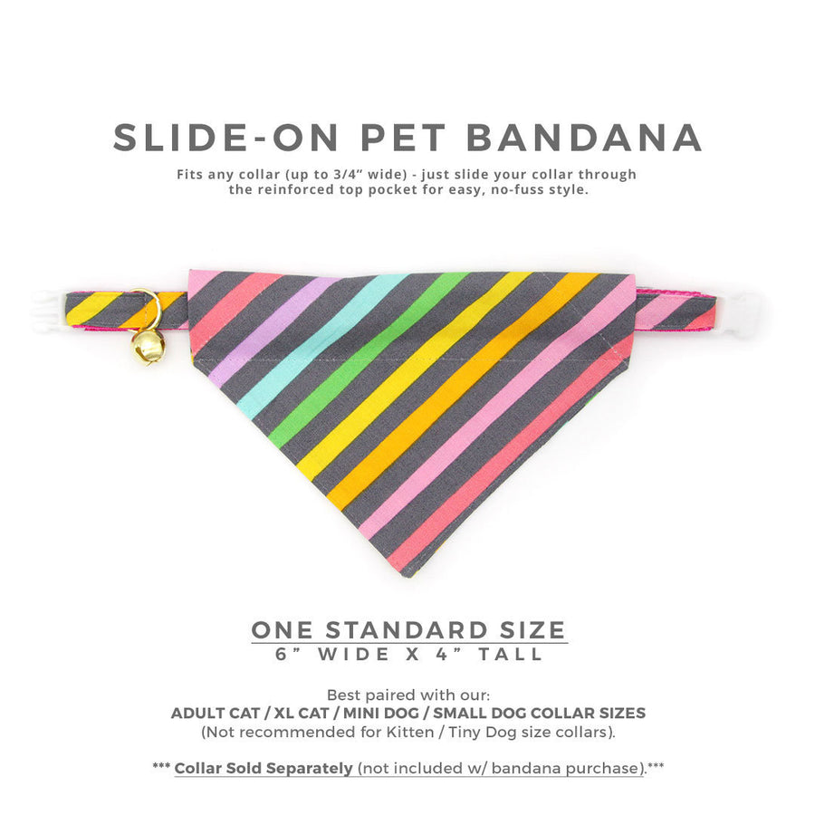 "Pet Bandana - ""Rainbow Sorbet"" - Pastel 80's Rainbow Bandana for Cat Collar or Small Dog Collar / Slide-on Bandana / Over-the-Collar (One Size)"