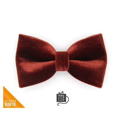 "Velvet Pet Bow Tie - ""Mahogany Velvet"" - Russet Brown Velvet Bow Tie for Cat / For Cats + Small Dogs (One Size)"