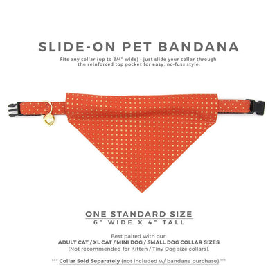 "Pet Bandana - ""Pumpkin Spice"" - Gold Polka Dots on Burnt Orange Bandana for Cat + Small Dog / Fall, Thanksgiving / Slide-on Bandana / Over-the-Collar (One Size)"