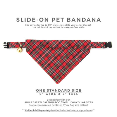 "Pet Bandana - ""Hearthside"" - Classic Red Tartan Plaid Bandana for Cat + Small Dog / Holiday, Christmas / Slide-on Bandana / Over-the-Collar (One Size)"