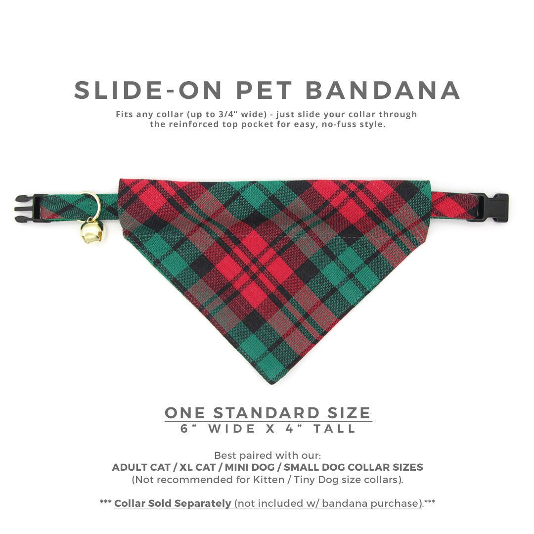 Sparkly Christmas Plaid Flannel Over the Collar Dog Bandana Extra Large