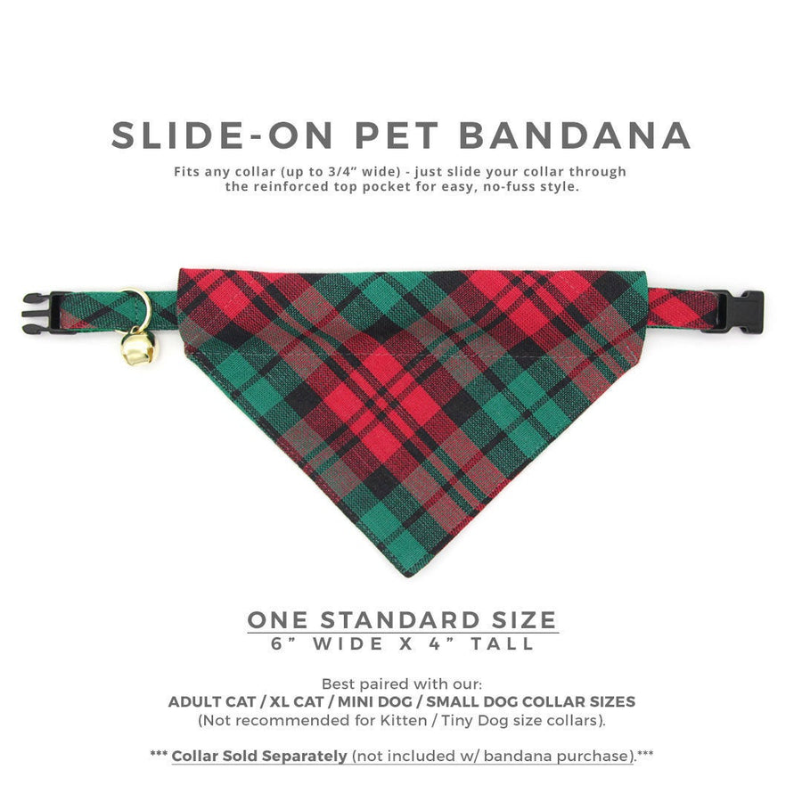 "Pet Bandana - ""Fireside"" - Red & Green Christmas Plaid Bandana for Cat + Small Dog / Holiday / Slide-on Bandana / Over-the-Collar (One Size)"