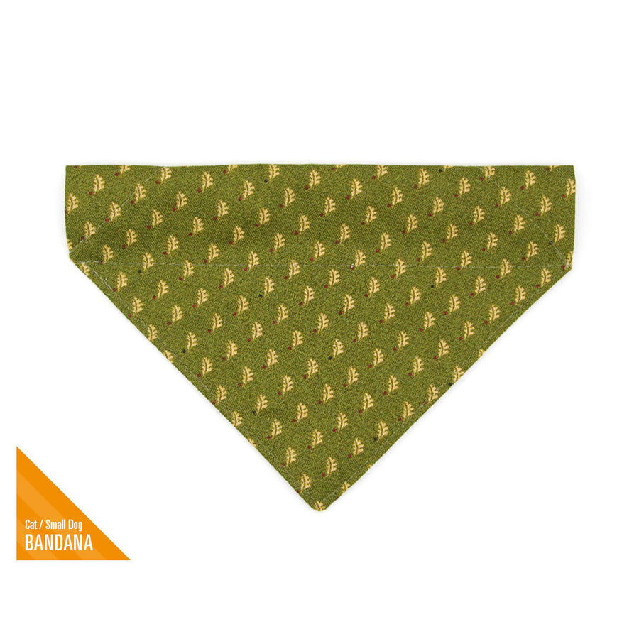 "Fall Pet Bandana - ""Woodmont"" - Oak Leaves on Olive Green Bandana for Cat + Small Dog / Slide-on Bandana / Over-the-Collar (One Size)"