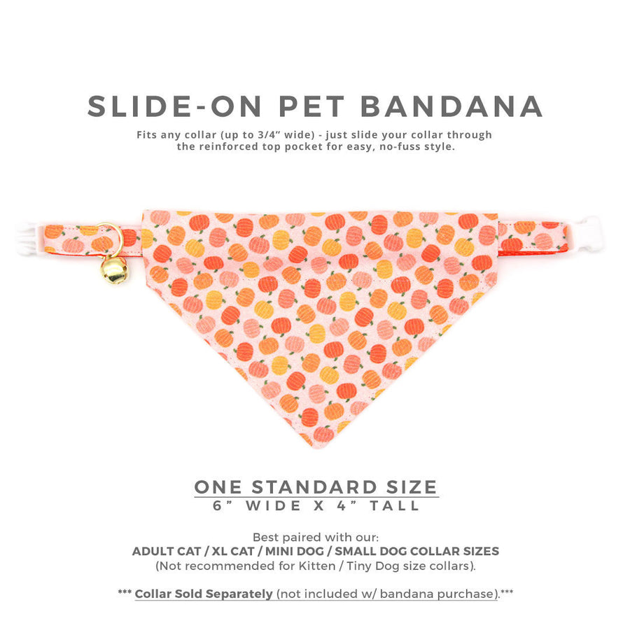 "Fall Pet Bandana - ""Peachy Pumpkins"" - Peach & Orange Pumpkin Bandana for Cat + Small Dog / Thanksgiving / Slide-on Bandana / Over-the-Collar (One Size)"