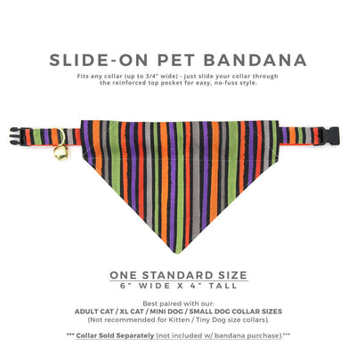 "Halloween Pet Bandana - ""Wicked Ways"" - Striped Bandana for Cat + Small Dog / Slide-on Bandana / Over-the-Collar (One Size)"