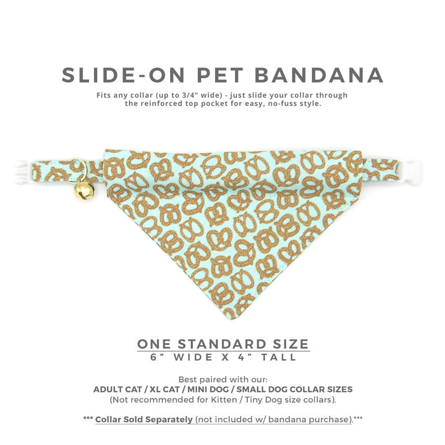 "Pet Bandana - ""Pretzel Twist - Mint"" - Pretzel Bandana for Cat + Small Dog / Food, Oktoberfest / Slide-on Bandana / Over-the-Collar (One Size)"