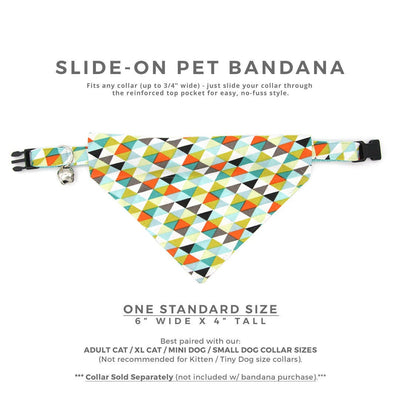 "Pet Bandana - ""Zephyr"" - Modern Geometric Bandana for Cat + Small Dog / Slide-on Bandana / Over-the-Collar (One Size)"