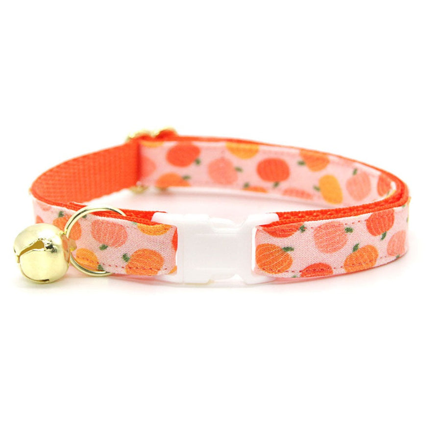 "Fall Cat Collar - ""Peachy Pumpkins"" - Peach & Orange Pumpkin Cat Collar / Thanksgiving / Breakaway Buckle or Non-Breakaway / Cat, Kitten + Small Dog Sizes"