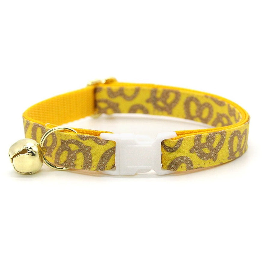 "Cat Collar - ""Pretzel Twist - Mustard"" - Pretzel Cat Collar / Oktoberbest, Food / Breakaway Buckle or Non-Breakaway / Cat, Kitten + Small Dog Sizes"