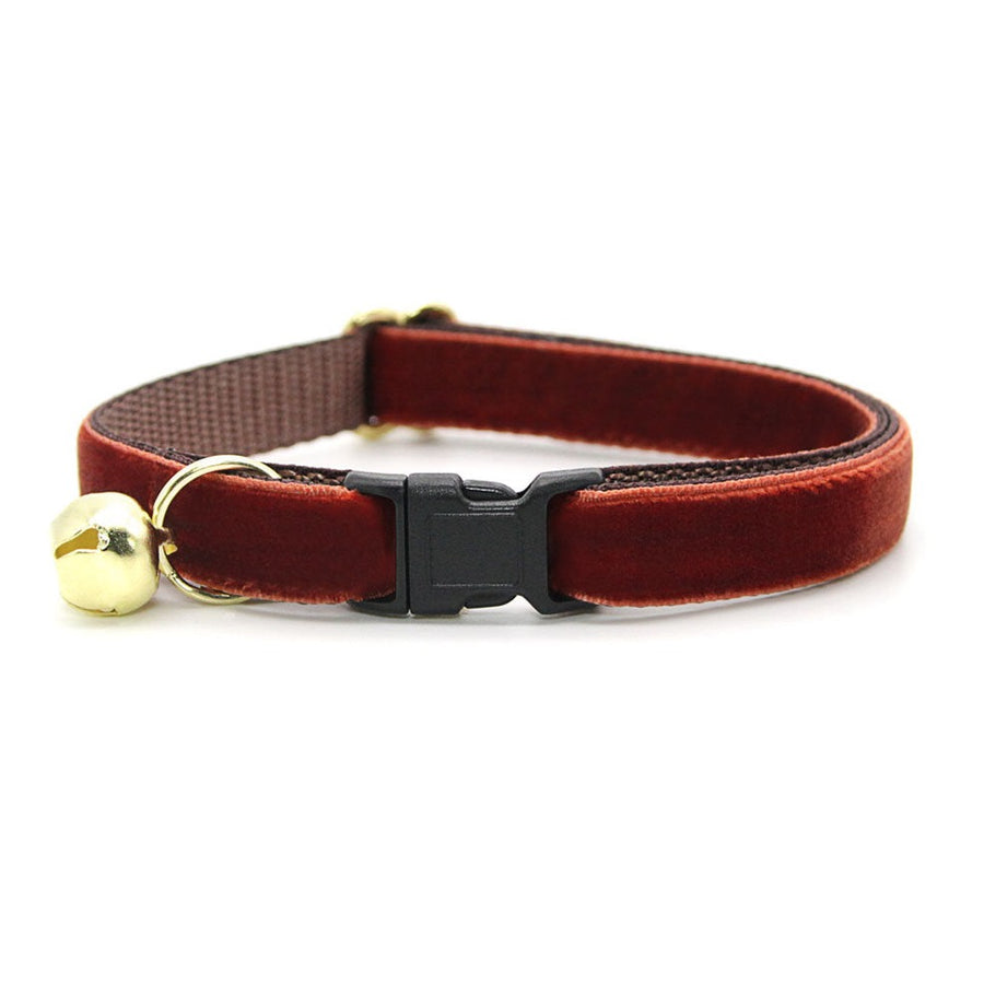 "Velvet Cat Collar - ""Mahogany"" - Luxury Velvet Cat Collar / Russet Brown / Breakaway Buckle or Non-Breakaway / Cat, Kitten + Small Dog Sizes"