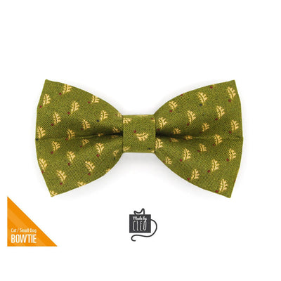 "Pet Bow Tie - ""Woodmont"" - Oak Leaves on Olive Green Bow Tie for Cat / Fall, Autumn / For Cats + Small Dogs (One Size)"