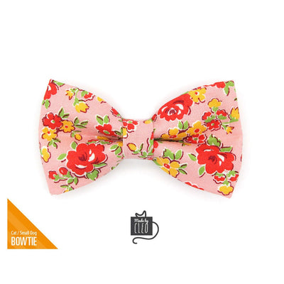 "Pet Bow Tie - ""Maeve"" - Red & Pink Floral Bow Tie for Cat / For Cats + Small Dogs (One Size)"