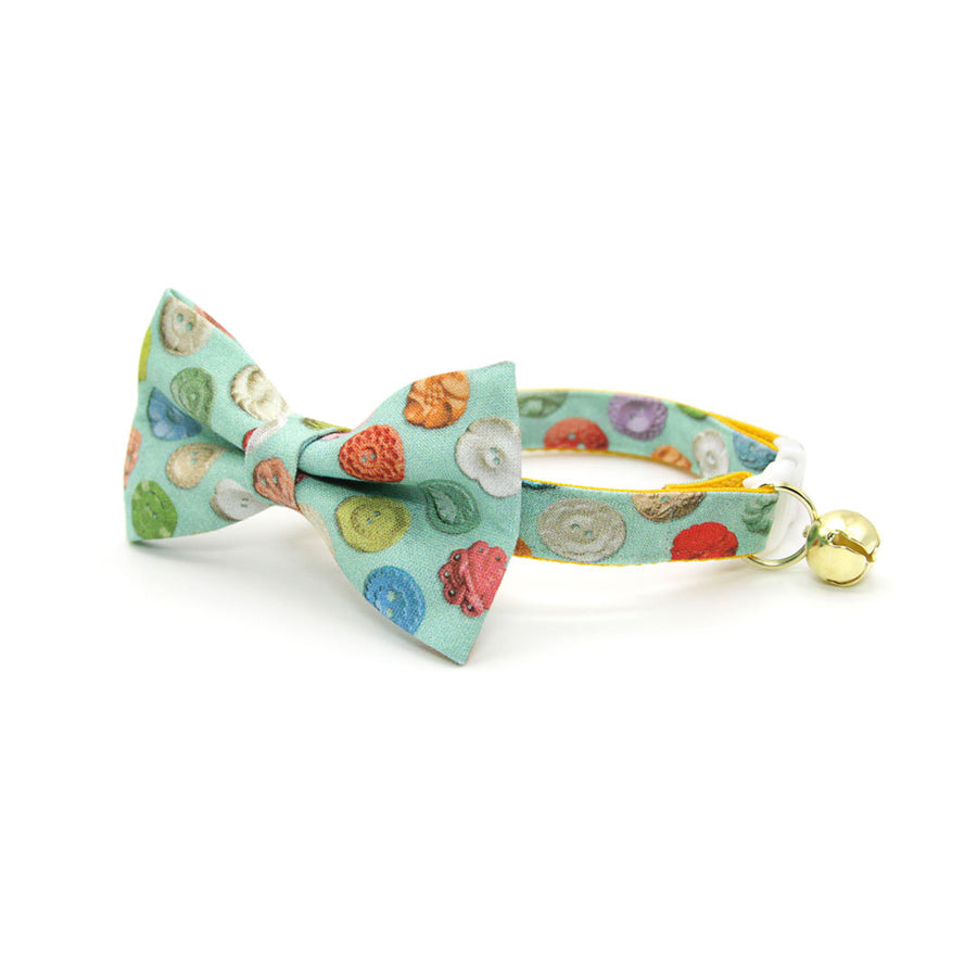 "Pet Bow Tie - ""Rainbow Buttons"" - Colorful Button Bow Tie for Cat / For Cats + Small Dogs (One Size)"