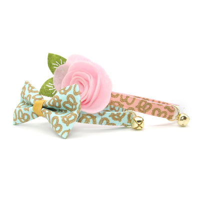 "Pet Bow Tie - ""Pretzel Twist - Mint"" - Pretzel Bow Tie for Cat / Oktoberfest, Food / For Cats + Small Dogs (One Size)"